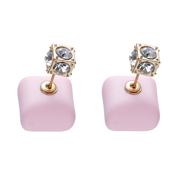 Pink Royal gold double-sided earrings