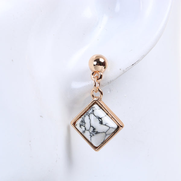 Dangle Square faux marble & gold earrings