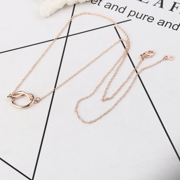 Love knot heart necklace (Silver & Rose gold)