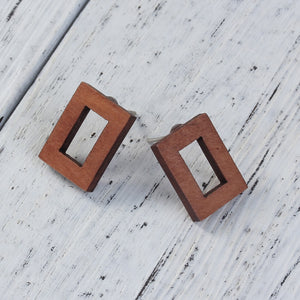 Wooden rectangle earrings