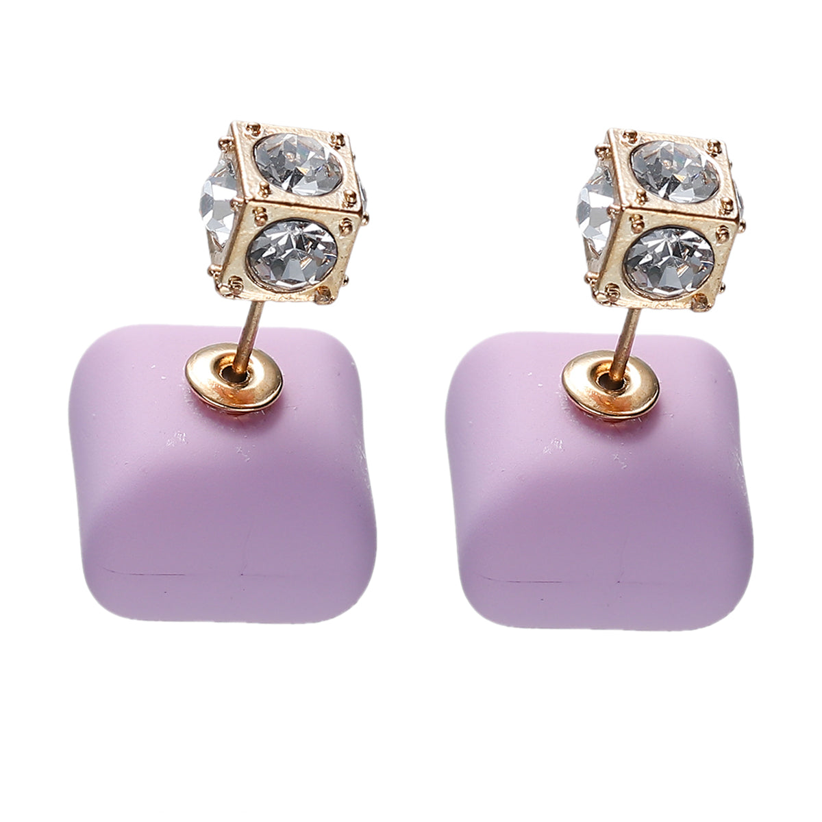 Lavender Royal gold double-sided earrings