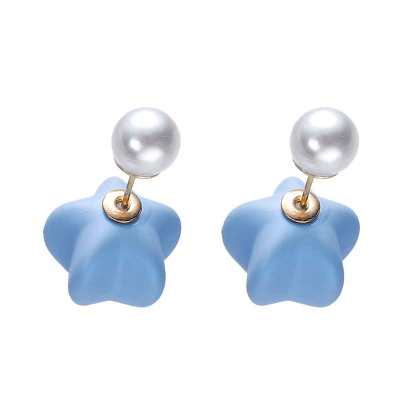 Blue Icing Star pearl double-sided earrings