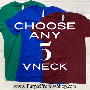5 shirt bundle (including Custom) - Vneck