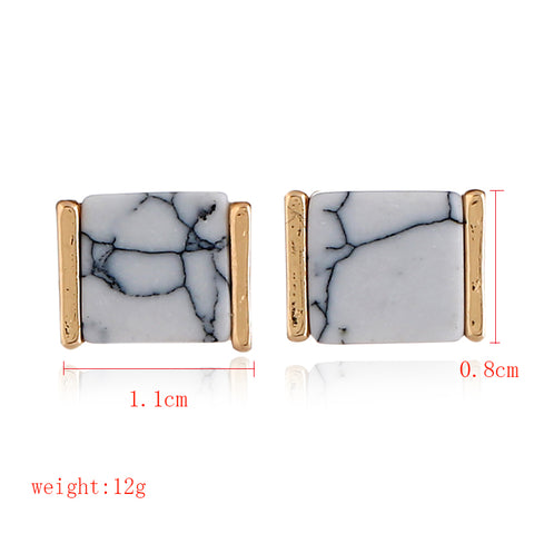 3D cube faux marble earrings