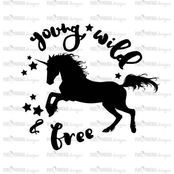 Young and free svg, Unicorn SVG file, unicorn cut file, unicorn decal svg, svg for Cricut, vinyl template, instant download, svg cuttable