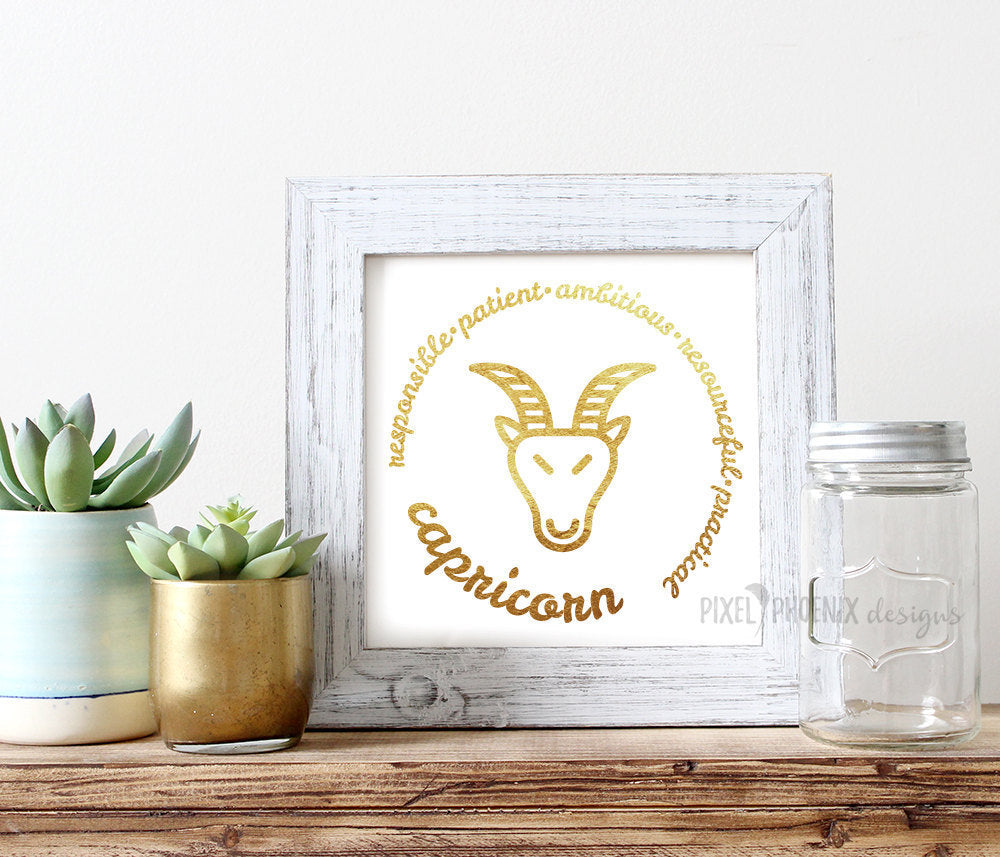 Capricorn SVG, Zodiac svg, astrology svg, cut + print file, horoscope, star sign, cricut explore, silhouette cameo, instant download