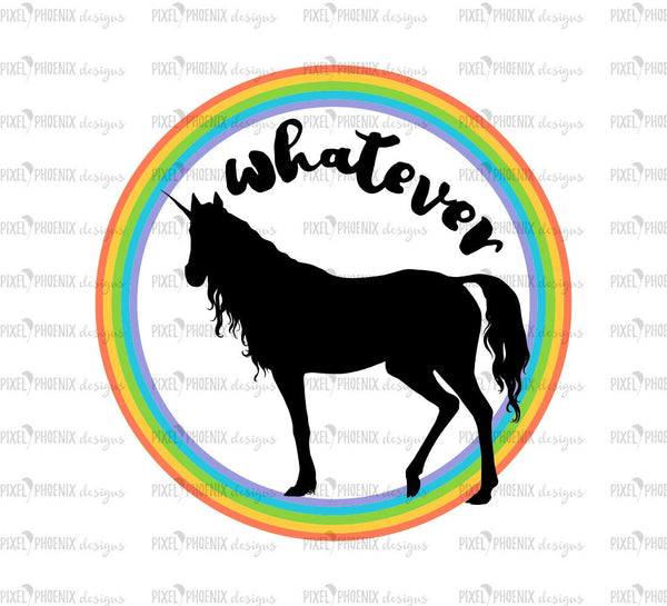 Whatever svg, Unicorn SVG, unicorn cut file, unicorn decal svg, svg for Cricut, vinyl template, instant download, svg cuttable, saying svg