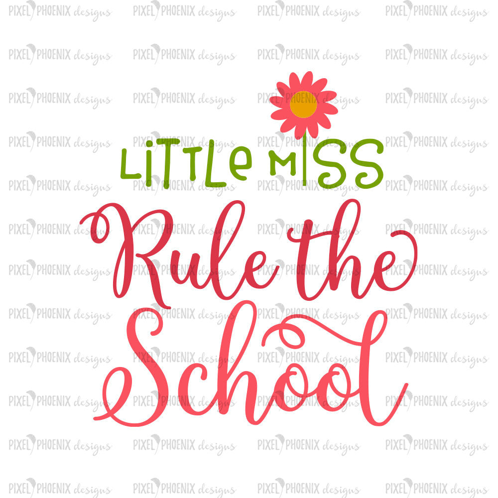Little Miss rule the school, Back to school SVG, Apple SVG, svg cut file, svg cricut, svg silhouette, instant download