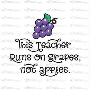 SVG Teacher design, Teacher gift, This Teacher Runs On Grapes, Grapes SVG, Back to school SVG, svg cut file, svg cricut, svg silhouette