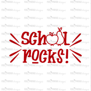 School Rocks SVG, Back to school SVG, svg cut file, svg cricut, svg silhouette, instant download, heat transfer file, digital download