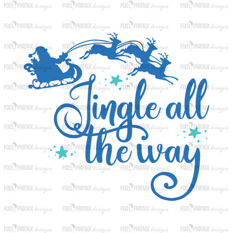 Jingle all the way svg, Christmas SVG, Santa svg, Reindeer SVG file, Rudolf svg, Christmas Sleigh svg, svg cut file, cricut, silhouette