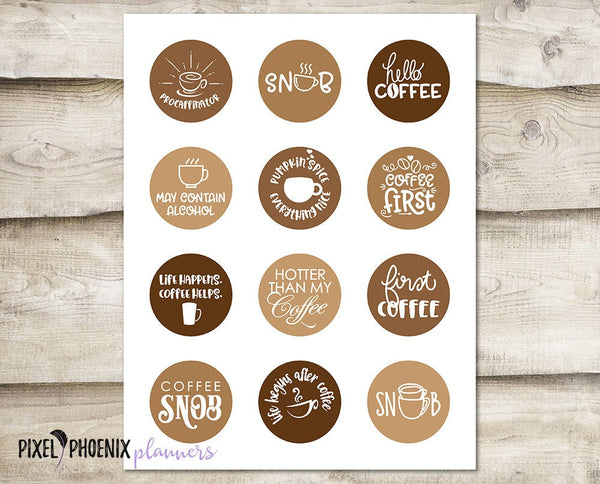 Coffee Stickers, Coffee Lover, Printable Stickers
