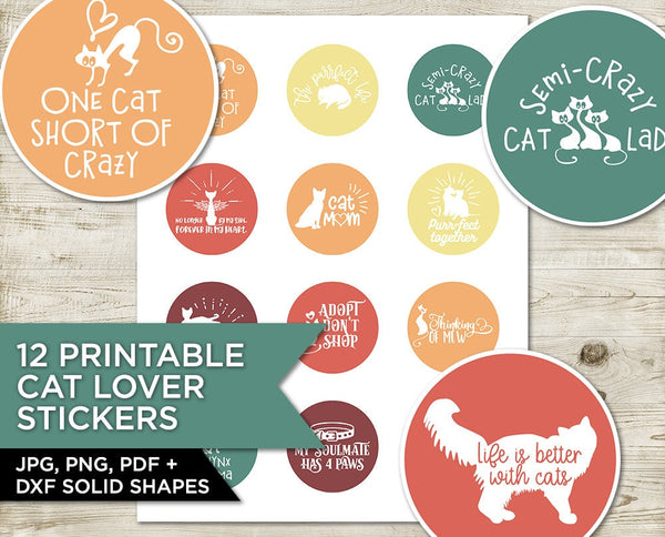 Cat Lover Stickers, Printable Stickers