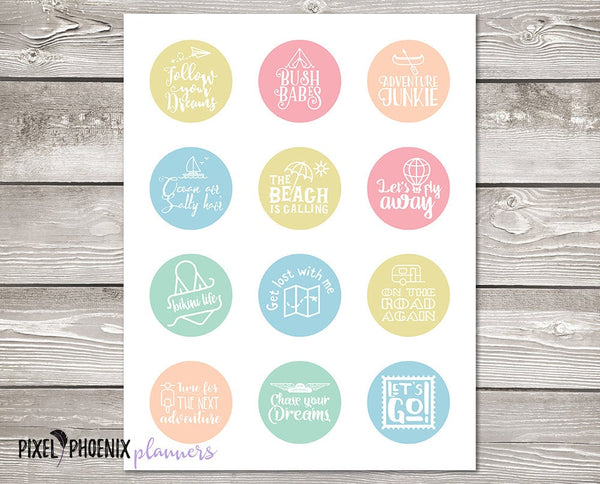 Travel Stickers, Holiday Stickers, Printable Stickers