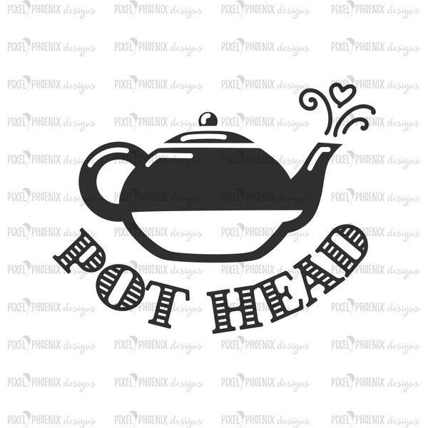 Pot Head SVG, Tea lover SVG, Tea Pot svg, Teapot design, Tea fan, Tea lovers, Cute Tea design, Tea decal design, Tea drinkers, SVG cut file