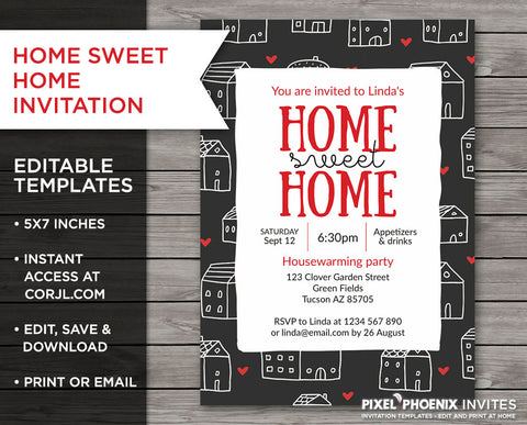 Home Sweet Home Invite, Housewarming Invite