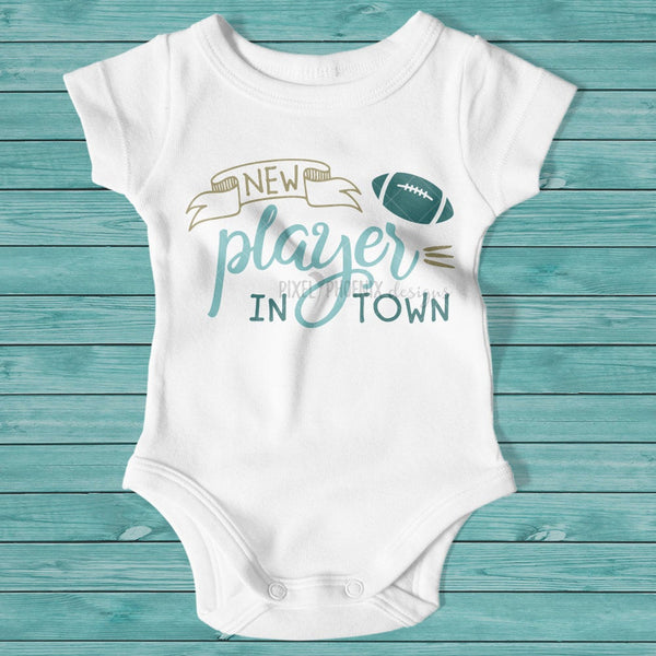 New Player In Town SVG, Football SVG, Football Baby, baby boy gift, coming home outfit, baby shower gift, American Football, Football season