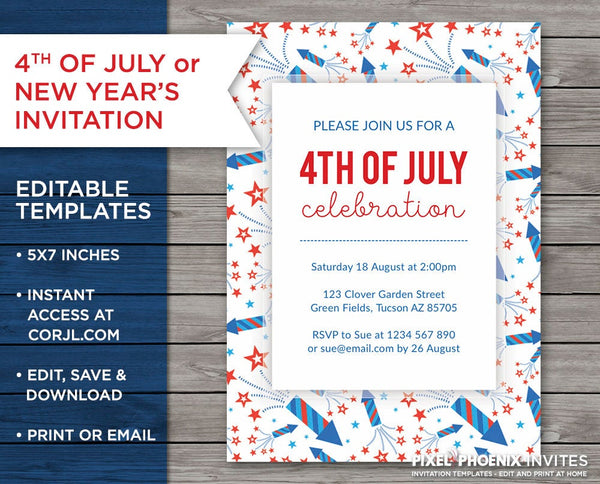 4th of July Invite, 4th of July Party