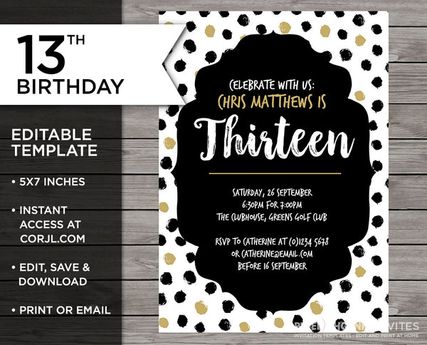 13th Birthday Invitation, Teenager Birthday