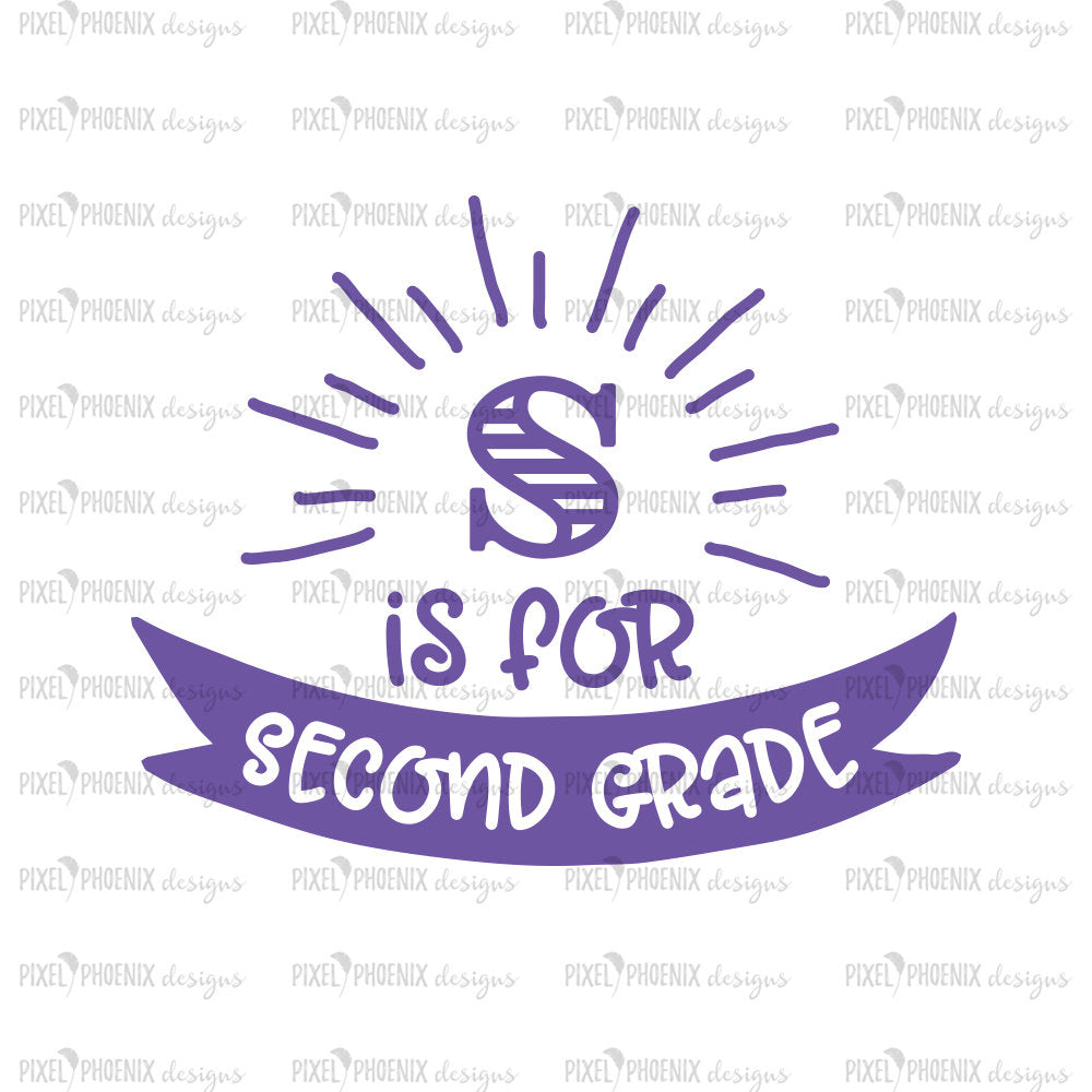 S is for Second Grade, Back to school SVG, svg cut file, svg cricut, svg silhouette, instant download, heat transfer file, digital download