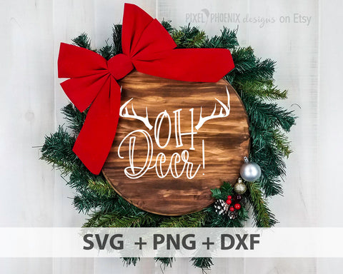 Oh Deer SVG, Oh Deer cut file, Christmas SVG, Cute deer svg, Deer horns, svg cut file, cricut, silhouette
