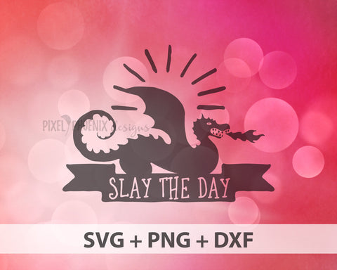 Slay the Day SVG, Dragon SVG, Dragon cut file, Fantasy SVG, Dragon Monogram svg, Dragon clipart, dragon cricut