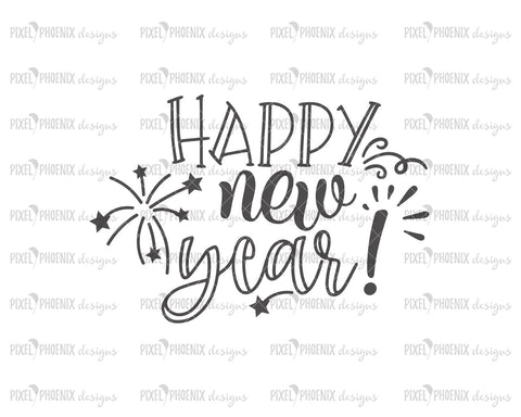 Happy New Year SVG, New Years SVG, Fireworks svg, svg cut file, svg file for cricut, svg file silhouette, New year SVG