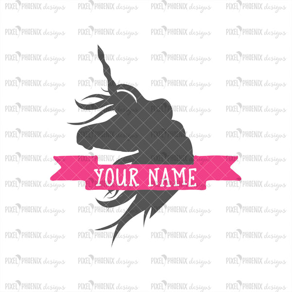 Unicorn Monogram SVG, Unicorn SVG file, blank monogram, unicorn cut file, fantasy horse, unicorn split monogram, svg cut file