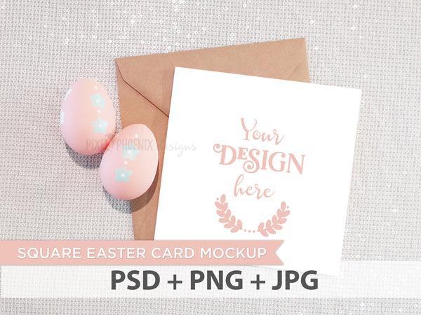 Square Easter Invite Mockup, Easter Postcard Mockup, Easter Invitation Mockup, Card Mockup, styled mock-up, blank mockup