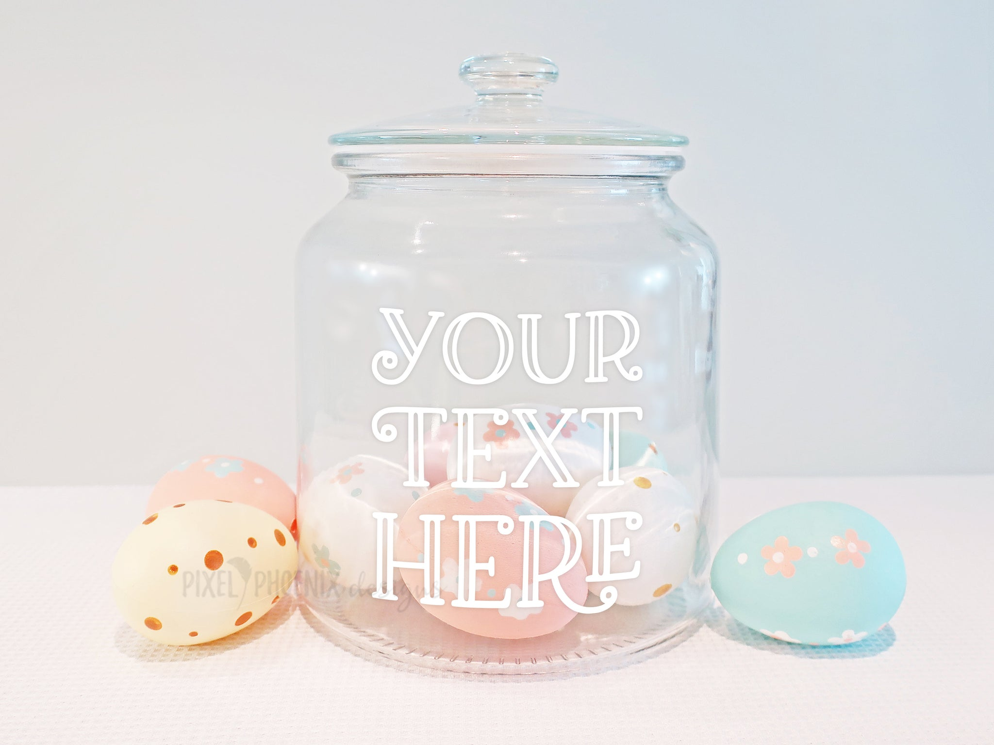 Easter Cookie Jar Mockup with eggs