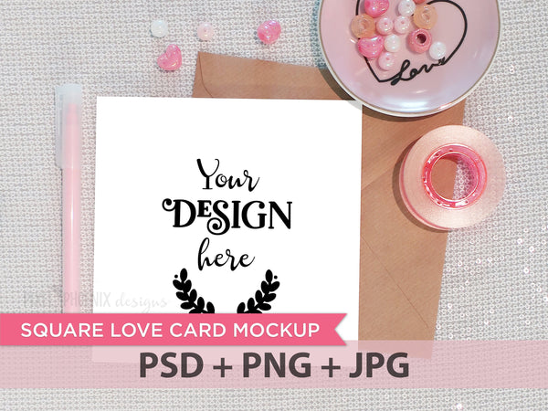 Square Love Card Mockup, square invite, square invitation, Invitation mockup, Invite Mockup, Photo template, styled mock-up