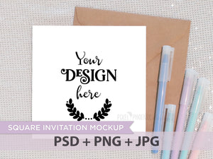 Square Invitation Mockup with pastel pens, square invite, square card, Invitation mockup, Invite Mockup, Photo template, styled mock-up