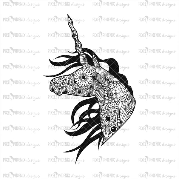 Unicorn Steampunk SVG, Unicorn paper cut file, Unicorn SVG file, Unicorn cut file, Detailed Paper cut file, horse lover