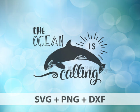 The Ocean is calling, Dolphin SVG, Dolphin cut file, for Cricut and Silhouette users and other crafters.