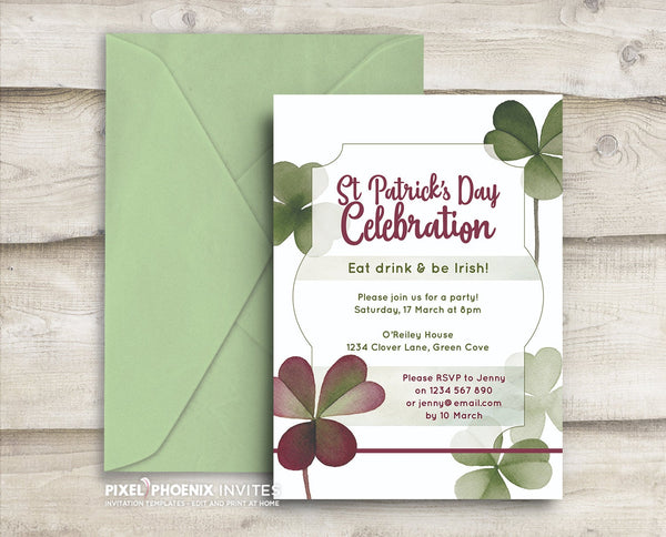 St Patrick's Day Invite, St Paddy's Day Invite