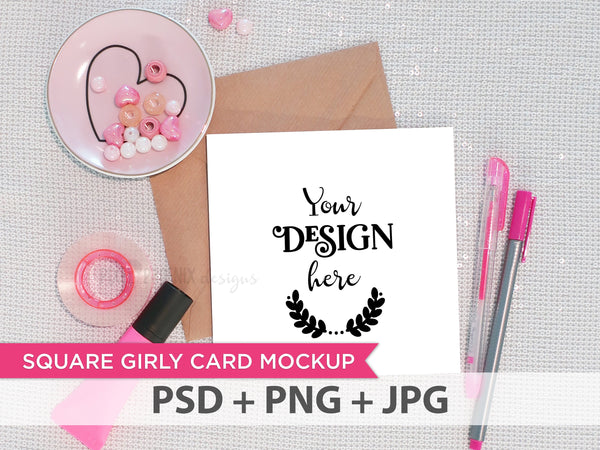 Square Girly Card Mockup, square invite, square invitation, Invitation mockup, Invite Mockup, Photo template, styled mock-up