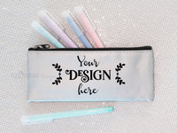 Pencil Case Mockup Pastels, zipper bag mock-up, silver pencil case, elegant mockup, small bag mockup photo, Pastel Mock-up, mockup photo