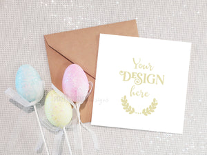 Square Easter Card Mockup, Easter Postcard Mockup, Easter Invitation Mockup, Invite Mockup, styled mock-up, blank mockup