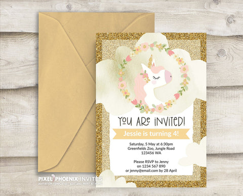 Gold/wheat Unicorn Birthday Invite, Unicorn Party Invitation
