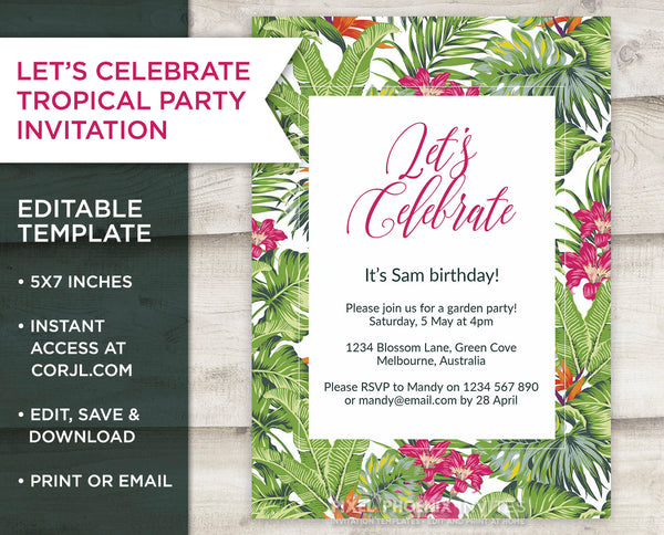Tropical Party Invite, Birthday Invitation