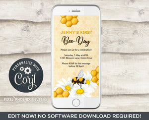 Bee-Day Invite, Bee Invitation