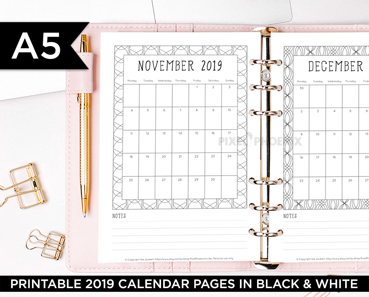 A5 Printable 2019 Calendar pages to add to your Bullet Journal, Planner or Binder