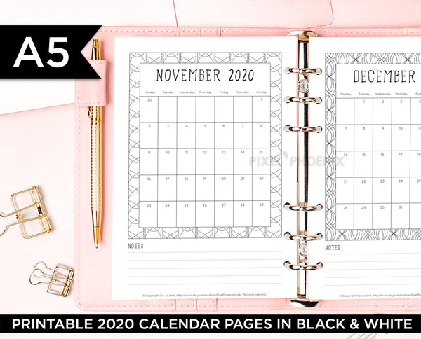 A5 Printable 2020 Calendar pages for your Bullet Journal, Planner or Binder