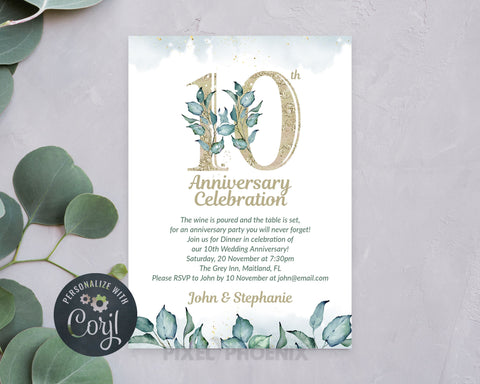 10th Anniversary, Anniversary Invitations