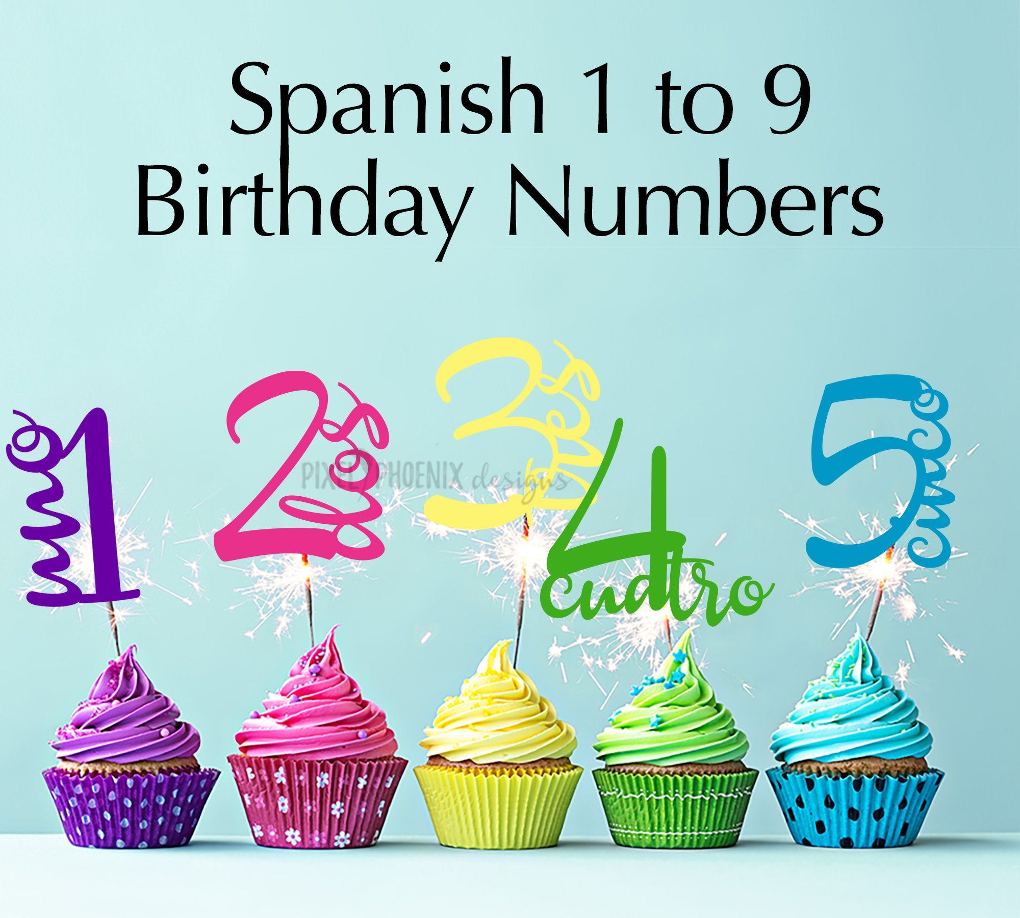 Spanish cake topper, birthday numbers svg, svg cut file, cake topper SVG, child's birthday svg, Birthday cut file, birthday age