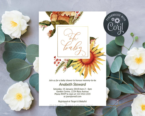 Oh Baby, Floral Baby Shower Invitation