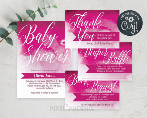 Bright Pink Baby shower Set, Girl Baby Shower Invite