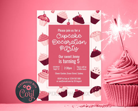 Cupcake Decoration Party, Cupcake Party Invite