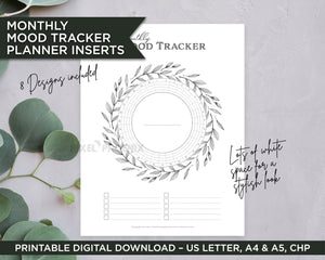 Printable Mood Trackers in Greyscale colour theme