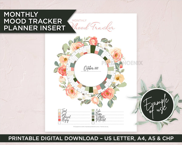 Printable Mood Tracker with Rose Wreath